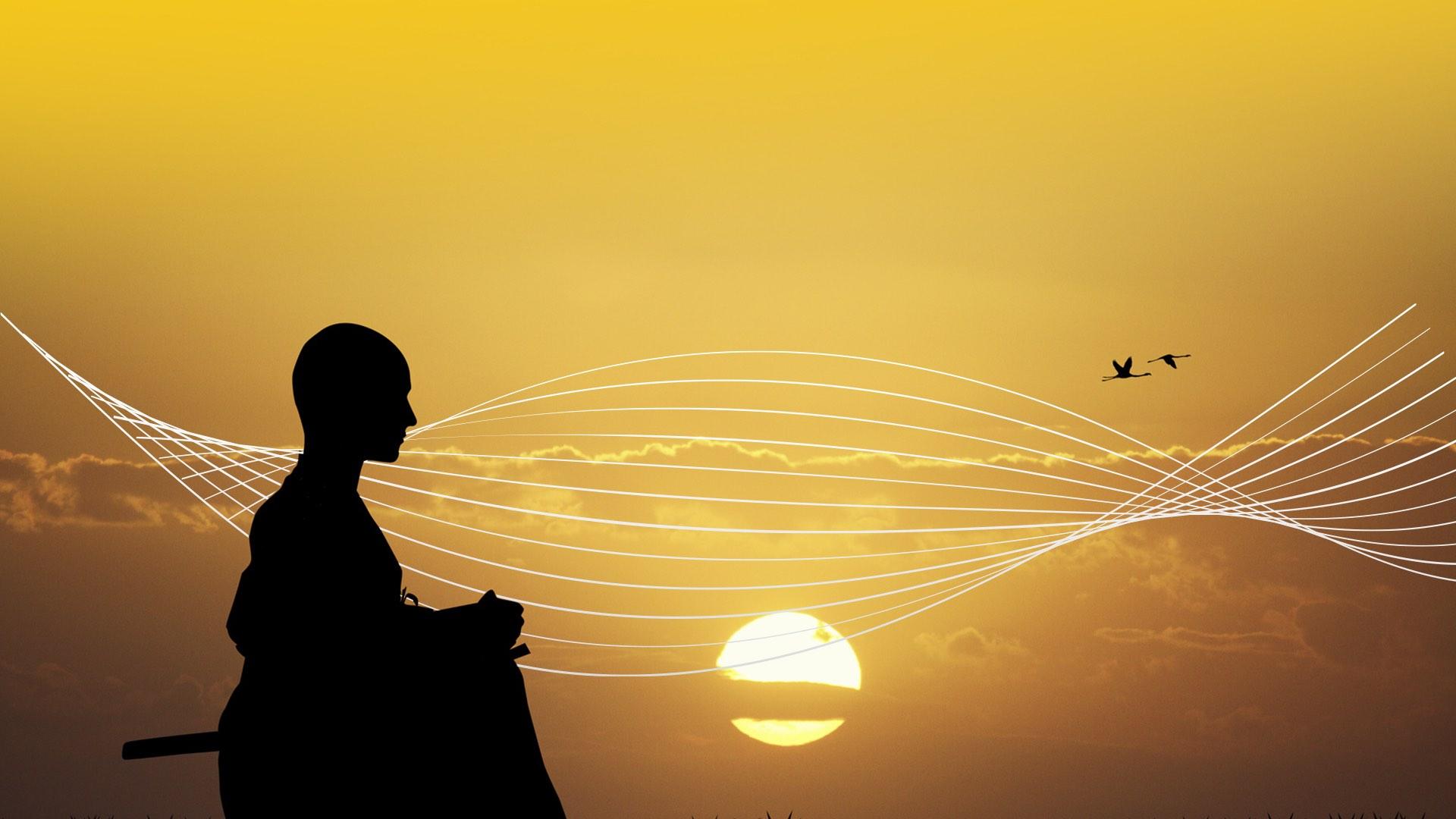 Samurai Sonnenaufgang Vögel